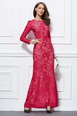 Sheath Lace Long Sleeve...