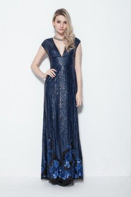 Sequin V-neck Long Formal Dress