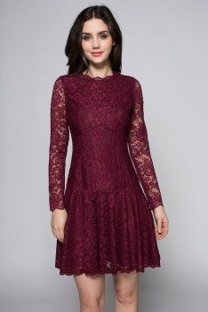 Burgundy Long Sleeve Lace Party Dress