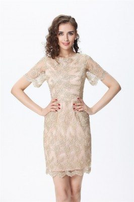 Sheath Champagne Embroidery Cocktail Dress