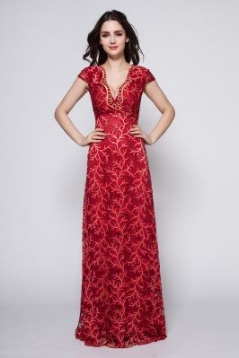 Burgundy Lace Cap Sleeve Formal Dress