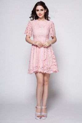 Short Sleeve Lace Short Dress
