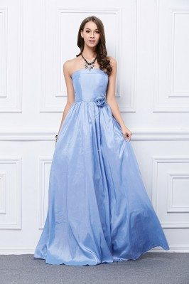 Strapless Taffeta Long Formal Gown