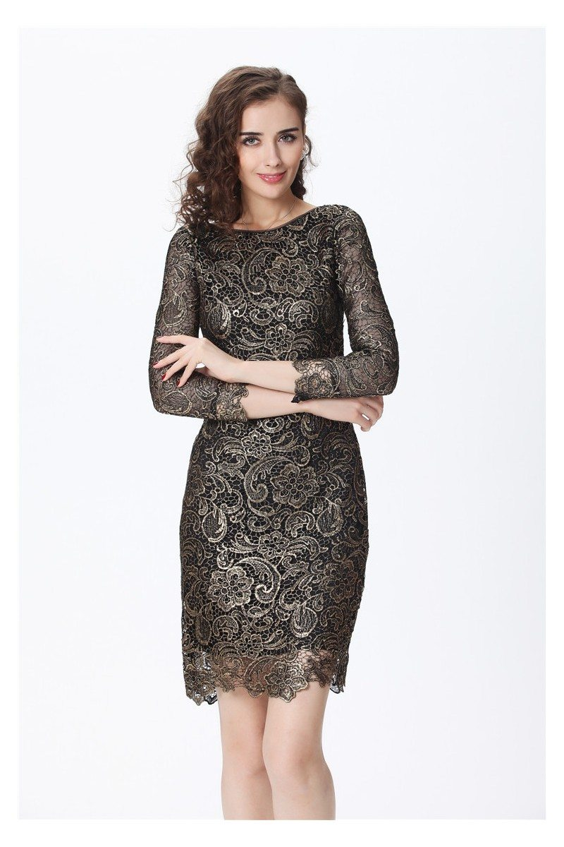 High End Lace 3 4 Sleeve Bodycon Dress 95 88 Dk189