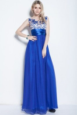 Royal Blue Chiffon Embroidery Long Dress