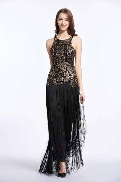 Sleeveless Embroidery Fringe Long Party Dress