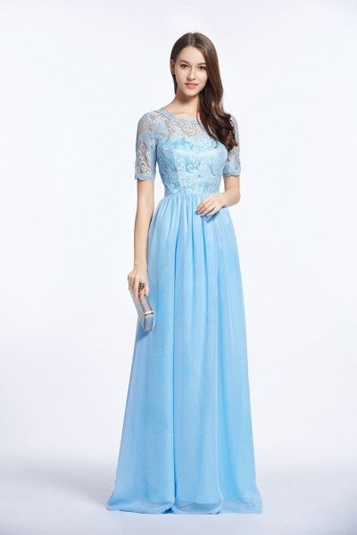 Lace Short Sleeve Chiffon Long Formal Dress
