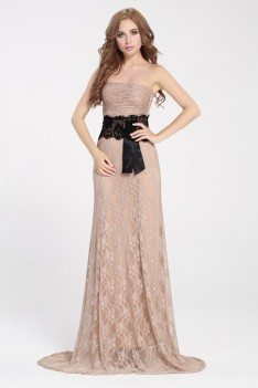 Nude Lace Strapless Sweep Train Long Dress