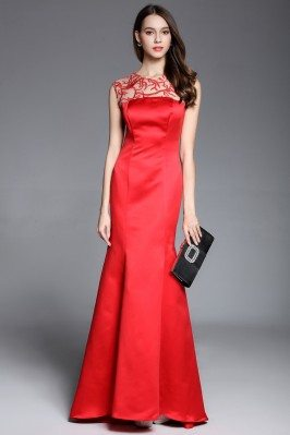 Red Mermaid Satin Long Dress