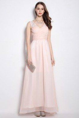 Pink V-neck Chiffon Long Party Dress