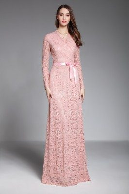 Pink Long Sleeve Lace...