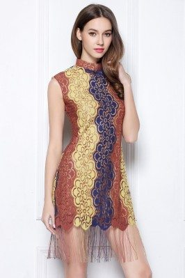 Multi Color Lace Qipao Style Fringe Party Dress