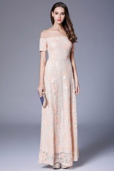 Nude Sequin And Embroidery Off Shoulder Long Dress