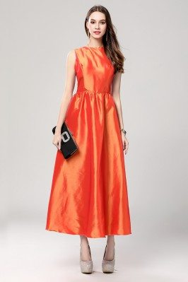 Orange Taffeta Party Dress With Sash