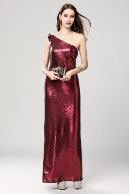 Burgundy Sequins One Shoulder Evening Dress