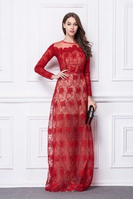 Red Lace Long Sleeve Organza Formal Dress