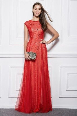 Red Lace Tulle Beaded Long Formal Gown
