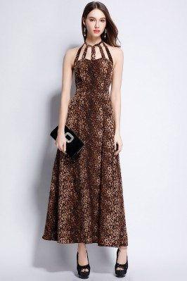 Leopard Halter Open Back Maxi Party Dress