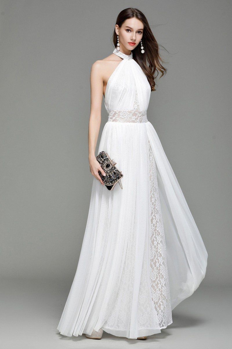 White Lace Long Halter Backless Evening Dress 109 98