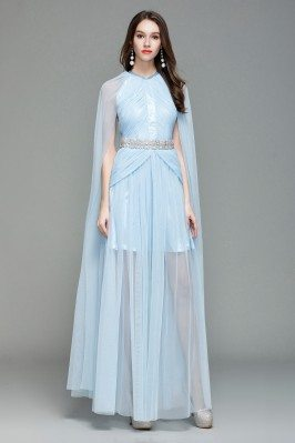 Celebrity Blue Cape Style Long Formal Dress