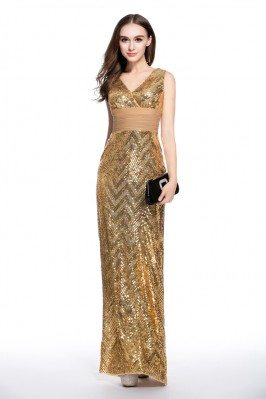 Sequin Double V-neck Sheath Formal Dress