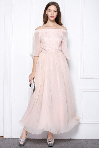 Pink Chiffon Off The Shoulder Long Party Dress