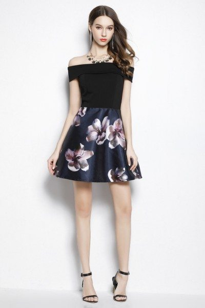 Black Floral Print Off The Shoulder Short Dress