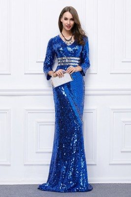 Blue Sequins Long Formal Evening Dress