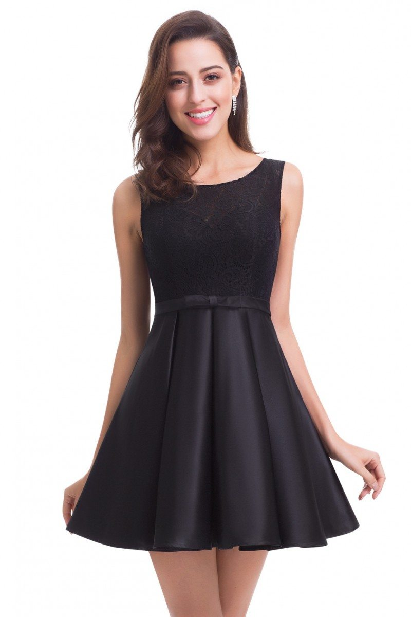 Black Round Neck Fit And Flare Party Dress 55 46