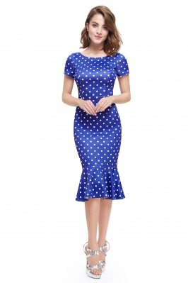 Blue Dotted Short Sleeve...