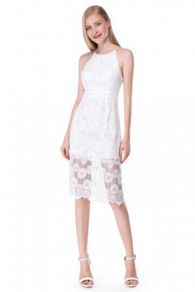 White Fit and Flare Sleeveless Lace Short Dress