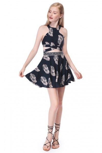 Navy Blue Sleeveless Two Piece Floral Printed Dress