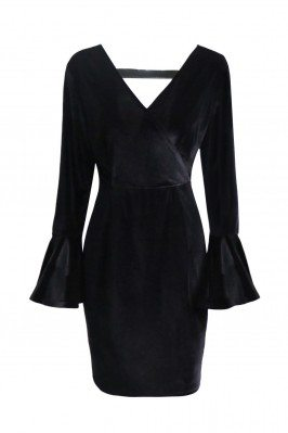 Women's Black V-neck Long...