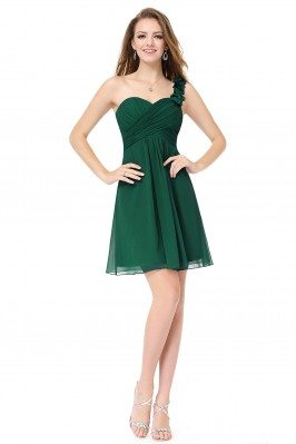 Dark Green One Shoulder...