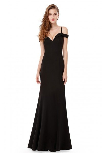Black Off-the-shoulder Sleeveless Long Evening Party Dress
