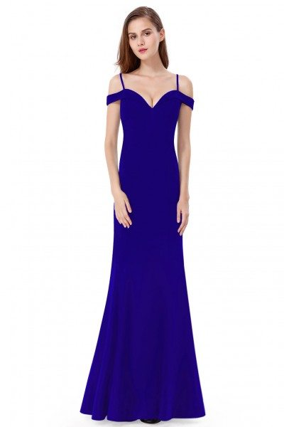 Royal Blue Off-the-shoulder Sleeveless Long Evening Party Dress