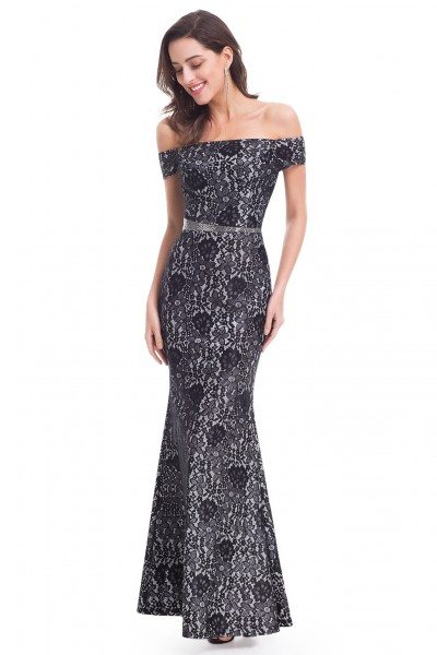 Black Lace Off-The-Shoulder Mermaid Evening Party Dress