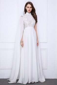 Pure White Cape Style High Neck Long Evening Gown