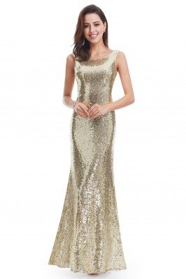 Women's Gold Long Open Back...
