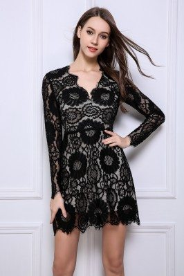 Little Black Lace Long Sleeve Party Dress