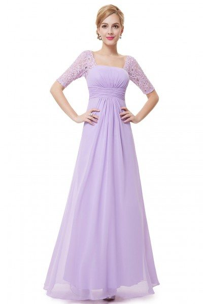 Lavender Lace Short Sleeve Long Evening Dress
