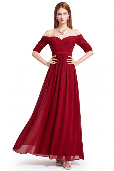 Burgundy Off-the-Shoulder Evening Gown with Sweetheart Neckline