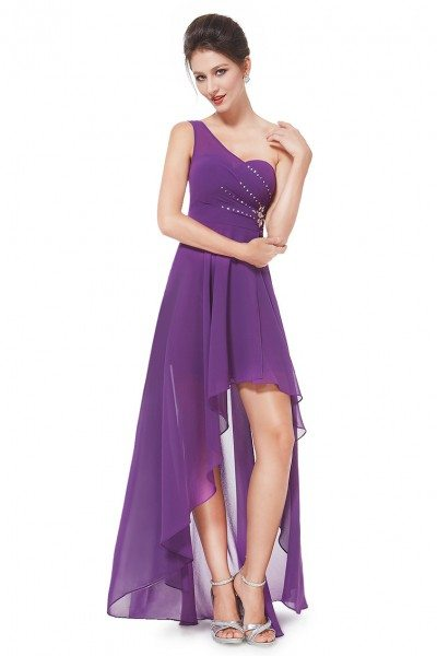 Purple One Shoulder Rhinestones Chiffon Hi-low Party Dress