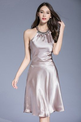 Beaded Short Halter Neck Satin Party Dress