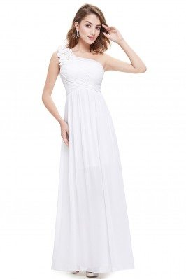 White One Shoulder Long...