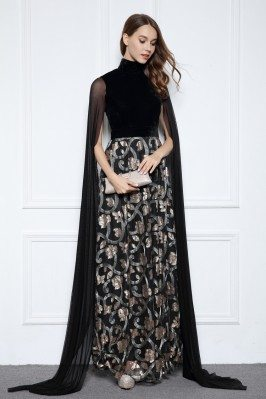 Designer High Neck Cape Style Black Formal Dress