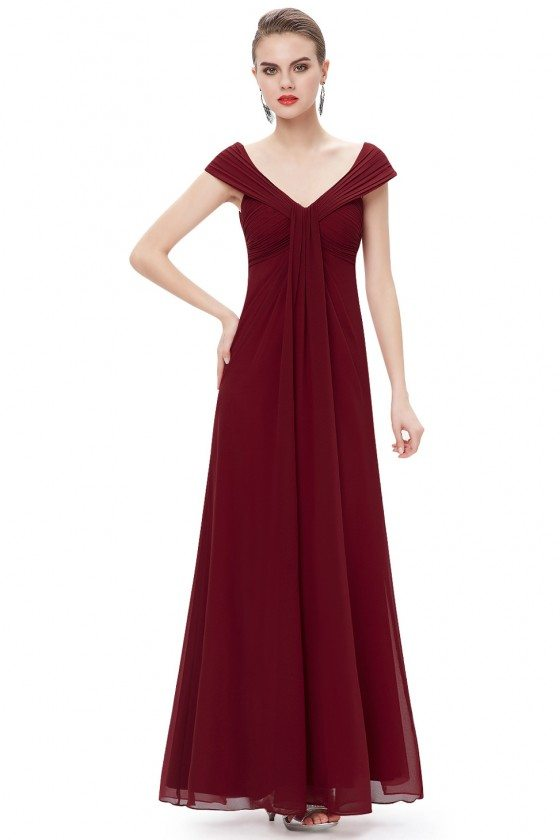 Burgundy Chiffon V-neck Long Party Dress