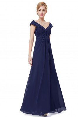 Navy Blue Chiffon V-neck...