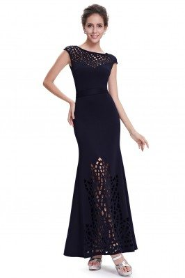 Navy Blue Lace Cap Sleeve...
