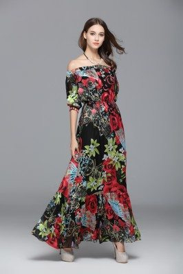 Off Shoulder Floral Printed Silk Long Party Dress